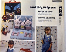Vintage Sewing Pattern McCall's 4208 Doll Carry House Stuffed Bunny Bear Animals Rabbit Dollhouse Toys Clothes Play Andrea Schewe