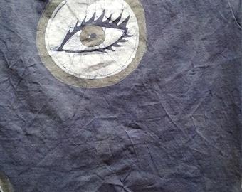 Women's small Peeper, peephole, spy, eyeball, gray eyes batik shirt
