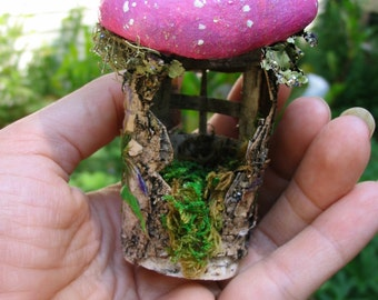 Little Pink Mushroom Hut Fairy House Made out of Birch Bark Great for Tooth Faerie to leave Gifts for teeth