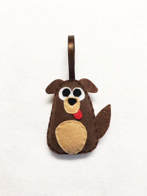 Dog Ornament, Puppy Christmas Ornament, Cullen the Mutt - Made to Order, Felt Ornament, Felt Animal, Holiday Decoration