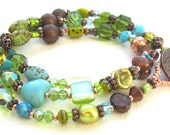 Triple Wrap Beaded Bracelet with Copper, Turquoise, and Lime Green Glass
