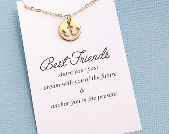 Friendship Necklace | Anchor Necklace, Best Friend Gift, Best Friend Birthday, Best Friend Necklace, Gift for Bestfriend, BFF, Bestie | F03