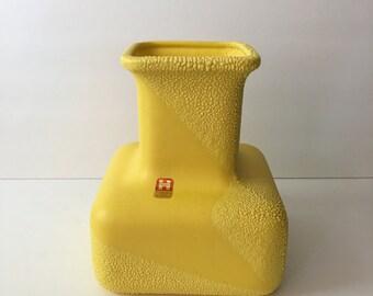 Royal Haeger MId Century Bright Yellow Vase with Orange Peel Glaze