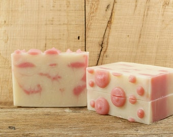 Pink Polka Dot | Pink Soap, Bath Soap, Cold Process Soap, Unique Soap, Fun Soap, Feminine Soap, Gift for Women Girls Teens, Phthalate Free