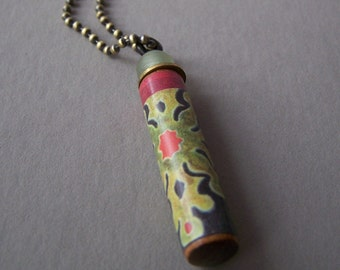 SALE...Wooden Necklace Pendant ~ Upcycled PIANO ~ Red Green Black