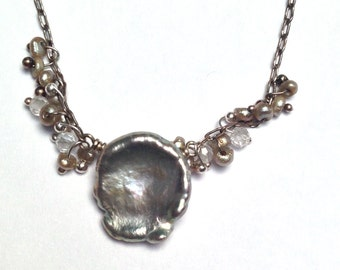 Keishi Pearl Necklace with Quartz Beading Cluster