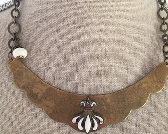 Women's brass scallop necklace with vintage beads and jewelry