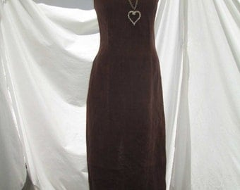 Organic Hemp 90s minimalist Dress Deep Brown Long dress Open back Sundress Long 90s brown bohemian dress M