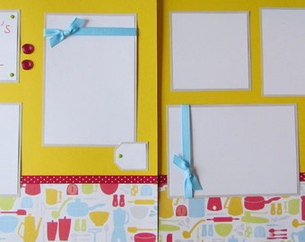 Premade 12x12 Scrapbook Pages --MOMMY'S LITTLE HELPER -- Cooking/baking in the kitchen, scrapbooking layout, boy or girl, family, mom and me