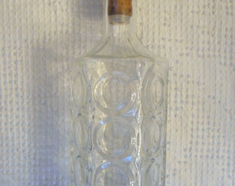 Vintage Glass Decanter - Mod 1960's Look with Great Circle Motif - A Retro Classic