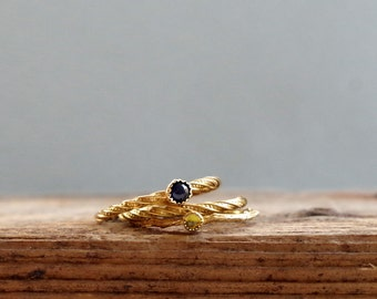 Gemstone Stack Rings Gold Plated Sapphire and Peridot Ring Gifts for Her