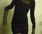 tunic dress with cowl and extra long sleeves Black and dark Olive Green