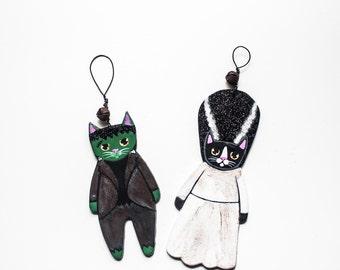 Frankencat & Bride Halloween Cat Original Painted Clay Folk Art Glitter Ornament