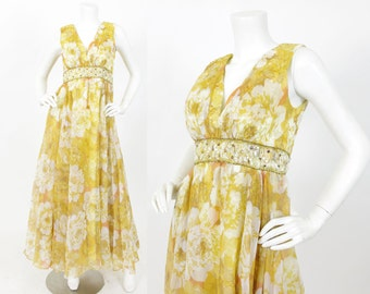 1960's Vintage Flowy Rose Floral Yellow and Orange Chiffon Embellished Waistband Low Neck Gown
