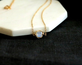 Layering Necklace Solitaire Necklace Rainbow Moonstone White gemstone choker Vitrine Designs Stacking jewelry