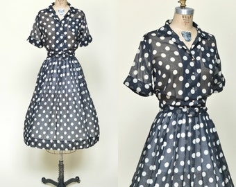 1950s Polka Dot Dress --- Vintage Navy Shirtwaist Dress