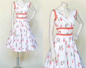 1950s Day Dress --- Vintage Cotton Sailboat Print Dress