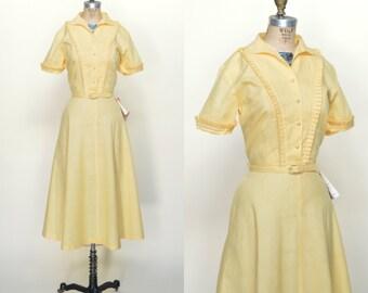 1950s Yellow Gingham Dress --- Vintage Pat Perkins Dress