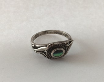 925 and abalone ring vintage