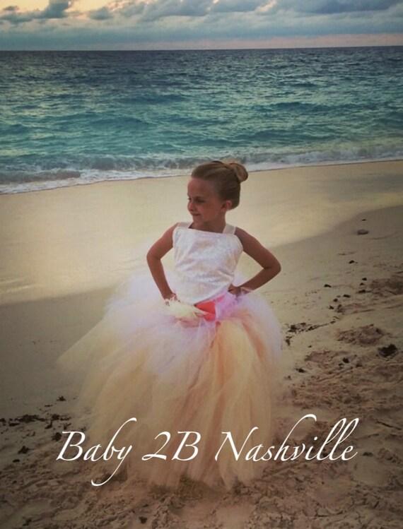 Flower Girl Dress Wedding Dress Coral Dress Cream Dress Ivory Dress Lace Dress Tutu Dress Baby Dress Toddler Dress Girls Dress Tulle Dress
