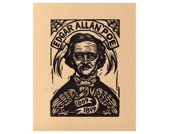 Edgar Allan Poe Linocut Print, Letterpress Printed with Ravens, Edgar Allan Poe Art Print, Wall Art