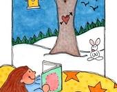 "ACEO - SFA - Original Illustration - Artist Trading Card - Folk Art - Cute Whimsical - 2.5"" X 3.5"" - Snowbound"