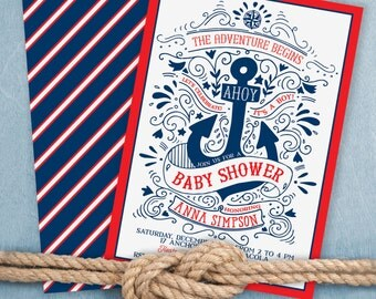 nautical baby shower invitation - Anchor Baby Shower Invitation - Hand drawn Baby Shower invitation - under the sea party