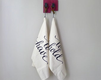 To have and to hold - tea towel set of 2 - made in the USA - wedding or anniversary gift - eco-friendly kitchen towels - Valentines Day gift