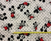 "NEW Mickey Mouse Toss cotton lycra knit fabric 96/4 58"" wide."