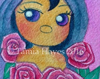 ORIGINAL- ACEO- Watercolor Painting- tamia- chicasol- big eye art- pink roses- flowers- child art- nursery- pink- spring
