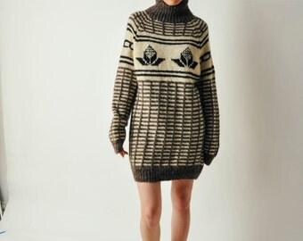 Vintage Cream Turtleneck Sweater Dress