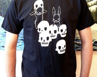 Mens T Shirt - The Skull Collectors - Black and White - Skulls and Bunny Rabbits Design - Small Medium Large XL XXL Sizes