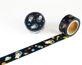 Astronaut Cat in Outer Space Washi Tape • Path Round Top Masking Tape MTW-CL001