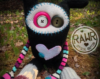 RAWR Sock Creature – Pink, Blue & White