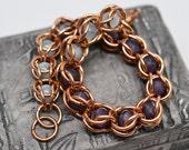 Bronze captured amethyst & aquamarine full persian style beaded chainmaille bracelet