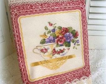 Tea Time Cottage Charm Kitchen towel Tea pot tea cup ESC RDT