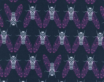 Cotton + Steel Raindrop Cicada Song Teal Navy 100% Cotton Fabric