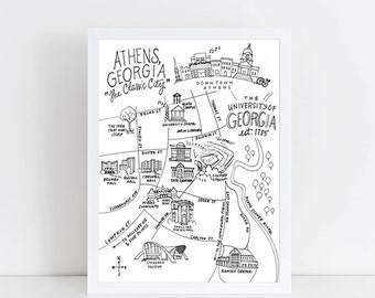 Pen and Ink University of Georgia, Athens, Georgia Map Art Print