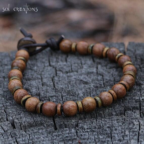 mala bracelet mens beaded leather yoga wood by. Black Bedroom Furniture Sets. Home Design Ideas