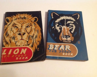 Pair of Vintage 1948 Bear and Lion Cub Scout Boy Scout Handbooks