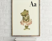 A for Alligator Girl - Alphabet art - Alphabet Letters - Baby Zoo Animals - Nursery art - Nursery decor - Baby Animals