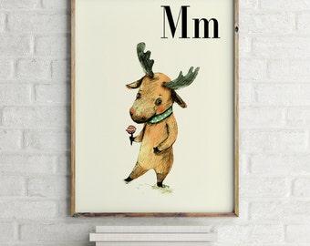 M for Moose - Alphabet art - Alphabet Letters - Baby Zoo Animals - Safari Nursery - Nursery art - Nursery decor - Baby Animals