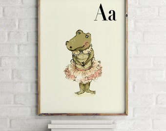 Alligator print, nursery animal print, safari nursery, alphabet letters, abc letters, alphabet print, animals prints for nursery