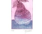 etching, pear, printmaking, fruit, zentangle, zen doodle, luck, lucky, good luck, pink, blue, romantic, curves, leaf, tree, home interior,