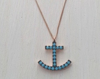 Turquoise Blue Anchor Necklace Pink Rose Gold Vermeil sterling silver 18 inch Chain, BFF dainty layering nautical necklace