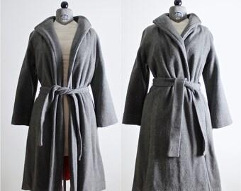 1970s Coat • Grey Coat • Gray Coat • 70s Wool Coat • Wrap Coat • Trench Coat • Belted Coat • Belted Jacket • Gray Trench Coat • Wool Coat