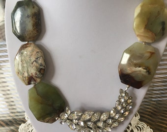 Shades of Green Beaded Necklace with Vintage Rhinestone Feather Brooch