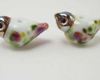 2 purple white  bird beads lampwork handmade artisan glass