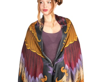 Gold and Red Scarf, Fantasy Costume, Festival Shawl, Festival Hood, Harry Potter Scarf, Phoenix Art, Dragon Scarf, Mythical Creature Scarf