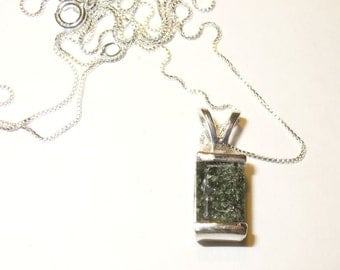 Seraphinite Gem Pendant Necklace - Genuine Natural Clinochlore in Sterling Silver